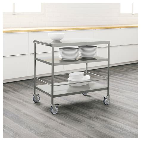kitchen islands and trolleys meetmargo co flytta kitchen trolley stainless steel 98x57 cm ikea