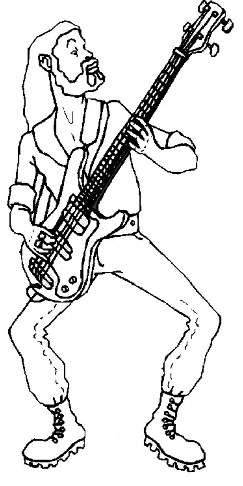 large guitar coloring page guitar player coloring pages standing bass guitar player