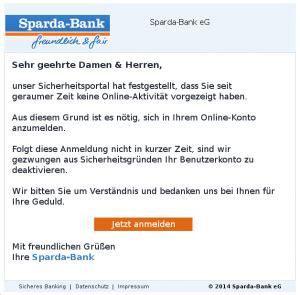 sparda bank de onlinebanking phishing sparda bank best 228 tigung ihrer daten