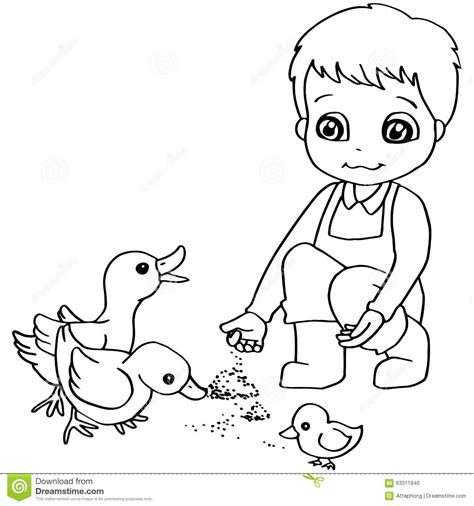 coloring book child feeding duck vector stock vector