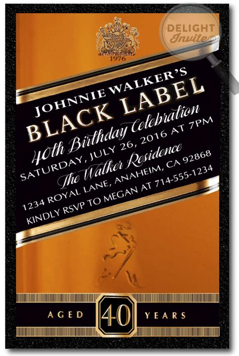themes black label themed birthday custom invitations and announcements for