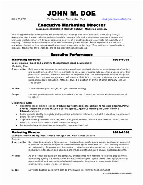 marketing resume template sle resumes marketing director resume