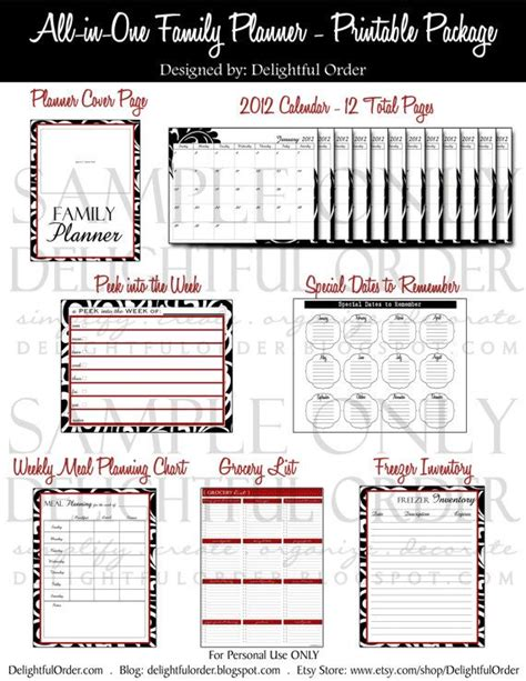 printable family organizer family planner printables printables labels pinterest