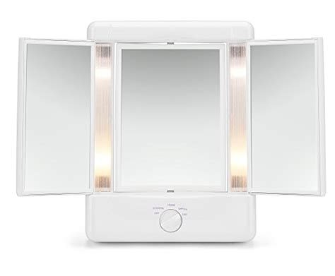 conair two sided makeup mirror with 4 light settings illumina by conair collection two sided lighted makeup