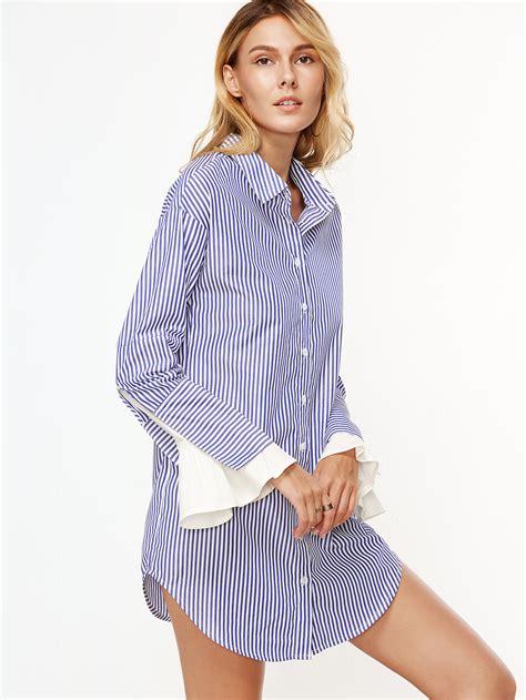 Blue Flounce Cuff S M L Dress 45026 blue and white vertical striped contrast ruffle cuff shirt dress emmacloth fast fashion