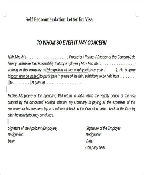 Reference Letter From Company For Visa self recommendation letter sle 8 exles in word pdf