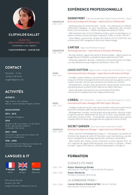Sample Chef Resume by Cv Clothilde Gallet Marketing D 233 Veloppement Amp Op 233 Rations