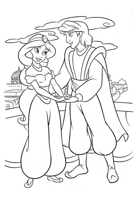 Galerry coloring pages jasmine aladdin