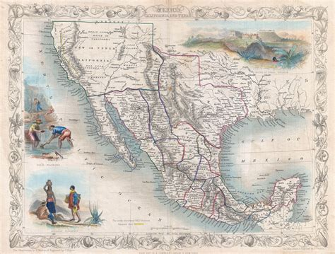 map of mexico and texas mexico california and texas by tallis 1851 3500 215 2656 mapporn