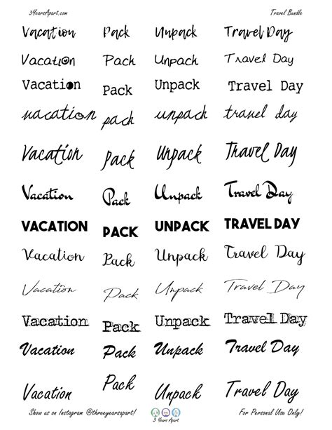 Vacation Sticker Bundle - Free Bullet Journal and Planner