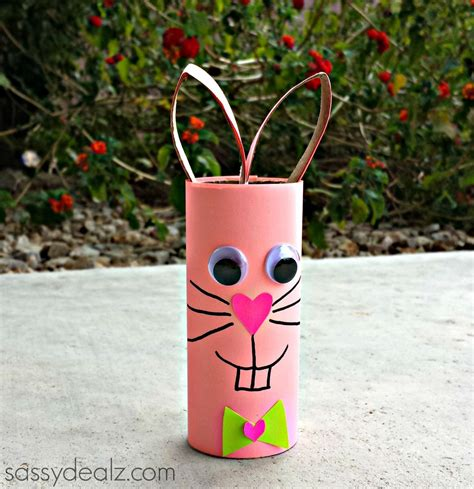 Toilet Paper Roll Bunny Craft - themed toilet paper roll crafts homeroom