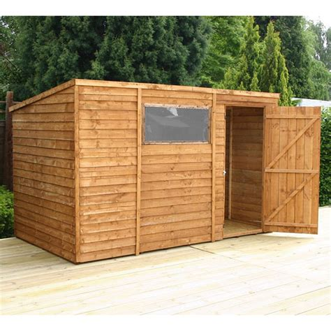 installed 10 x 6 overlap pent shed with single door 1