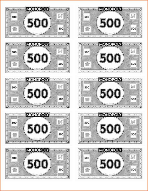 Printable Money Template by Printable Monopoly Money Printable 360 Degree