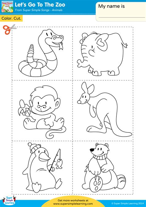 cut and color let s go to the zoo worksheet color cut paste