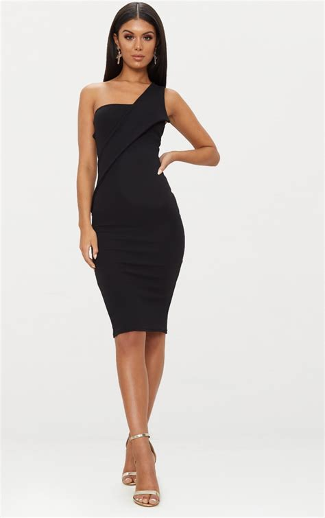 black asymmetric strap midi dress dresses