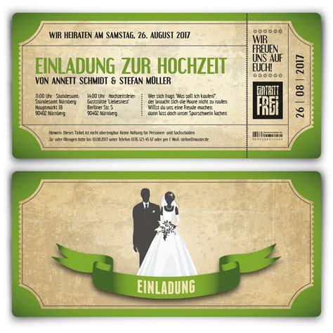 Hochzeitskarten Einladung Vintage by Einladungskarten Zur Hochzeit Als Vintage Ticket In Gr 252 N