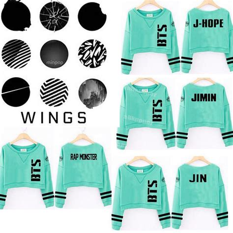 Bts Wings Sweater kpop bts sweater wings mint green cropped hoodie jung kook