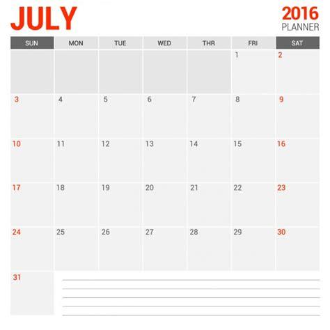 Calendrier 8 Juillet Juillet 2016 Calendrier Mensuel T 233 L 233 Charger Des Vecteurs