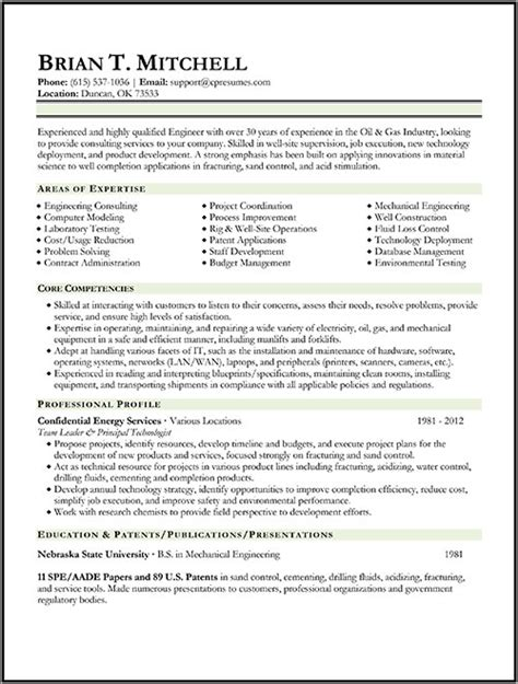and gas resume template resume sles types of resume formats exles templates