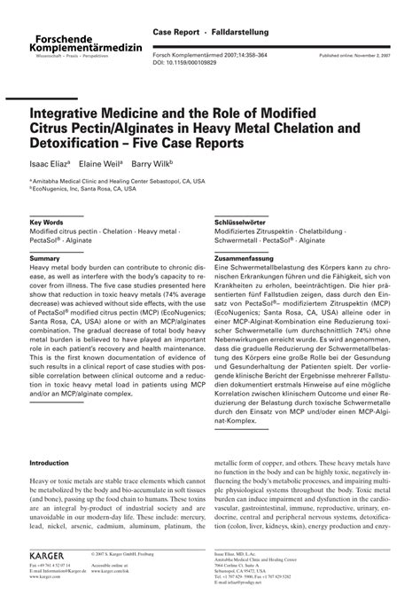 Modified Citrus Pectin Heavy Metal Detox by Integrative Medicine And The Of Pdf