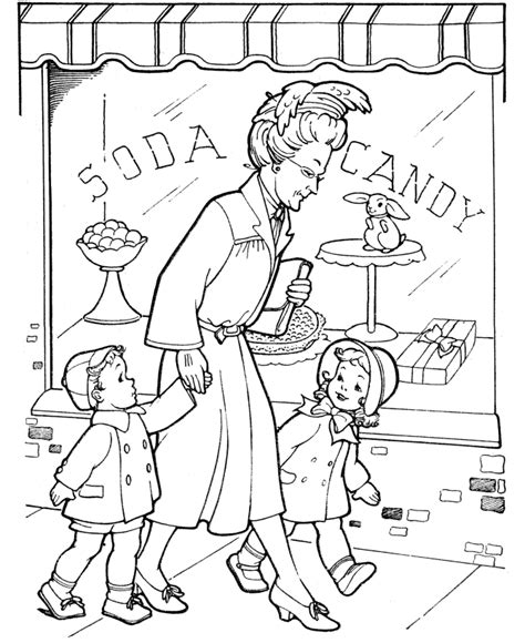 grandparents coloring pages grandma takes us shopping