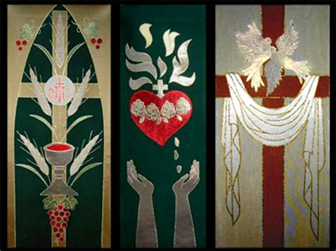 Handmade Church Banners - liturgical fabric woodcarving and sculpting by fred