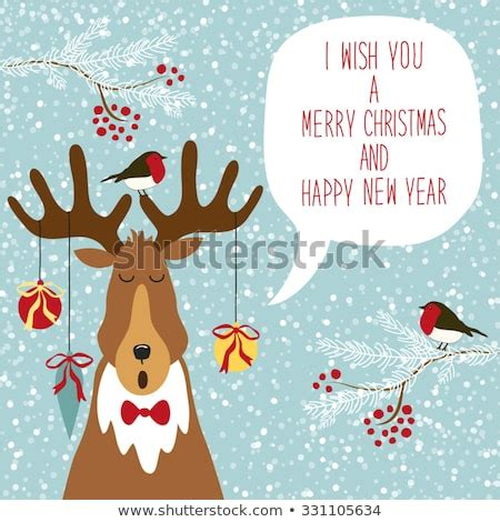 cute hand drawn reindeer singing traditional stock vector  shutterstock