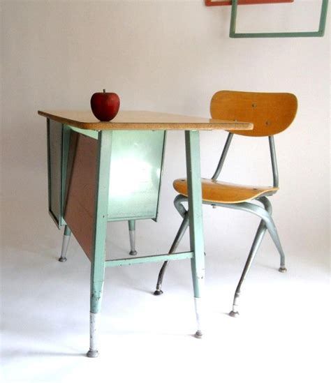 k 4 retro mid century school desk and chair turquoise