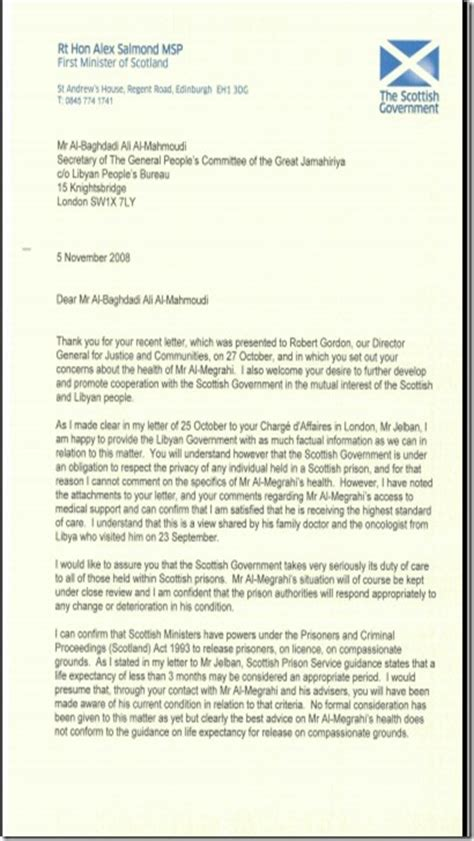 Compassionate Release Letter Exle The Last Of The Few Wikileaks Megrahi Release And The Uk Government