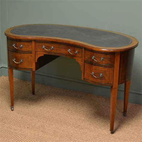 Beautiful Inlaid Mahogany Antique Kidney Shaped