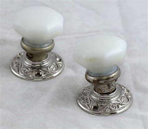 Milk Glass Door Knobs by Milk Glass Doorknobs With Nickel Rosettes Olde Things