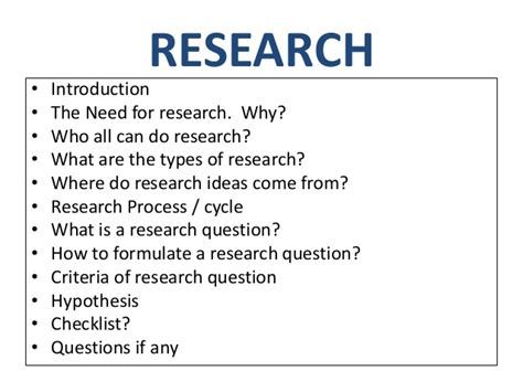 topic to do a research paper on research question and hypothesis