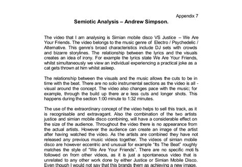 Semiotic Analysis Essay by Detailed Semiotic Analysis Of A A Level Media Studies Marked By Teachers