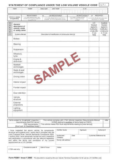 compliance statement template sle certification documents nzta vehicle portal