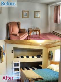 Diy Built In Bunk Beds Diy Wall To Wall Built In Bunk Beds And A Room Remodel