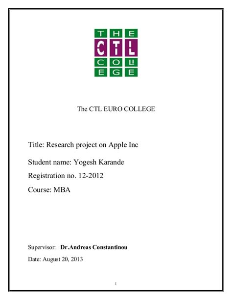 Mba Project Report On Time Management by Mba Project Report On Apple Inc