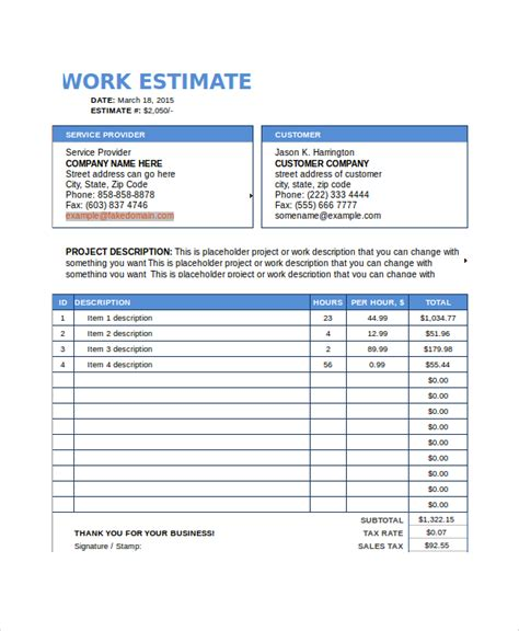 work estimate template work estimate template excel estimate template