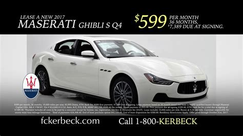 maserati cost how much does a maserati cost 599 per month