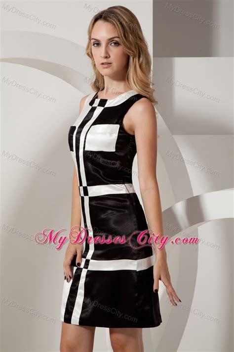 Mini Dress Irithel Square Bordir black and white square column prom dress with pocket