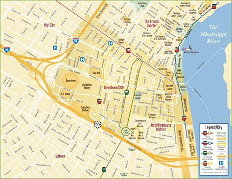map of new orleans new orleans cbd and downtown map