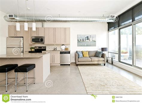 Stock Interiors Carpet by Modern Condo Kitchen And Living Room Stock Photo Image