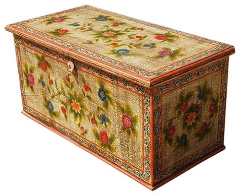 Solid Hardwood Hand Painted Storage Trunk Coffee Table Decorative Trunks For Coffee Tables