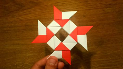 Origami Shuriken - how to make a paper 8 pointed origami