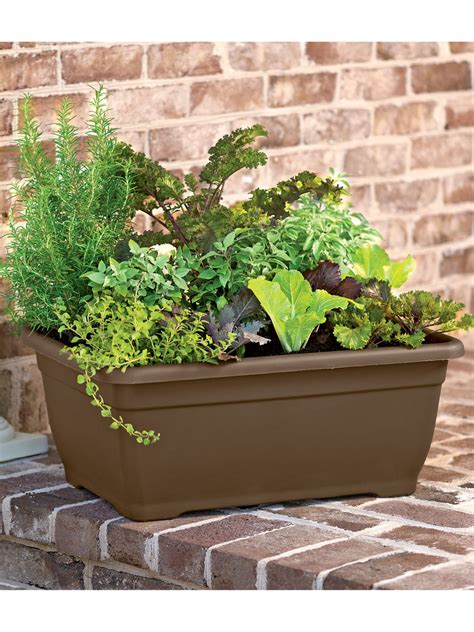 self watering planter herb planter self watering patio planter gardeners com