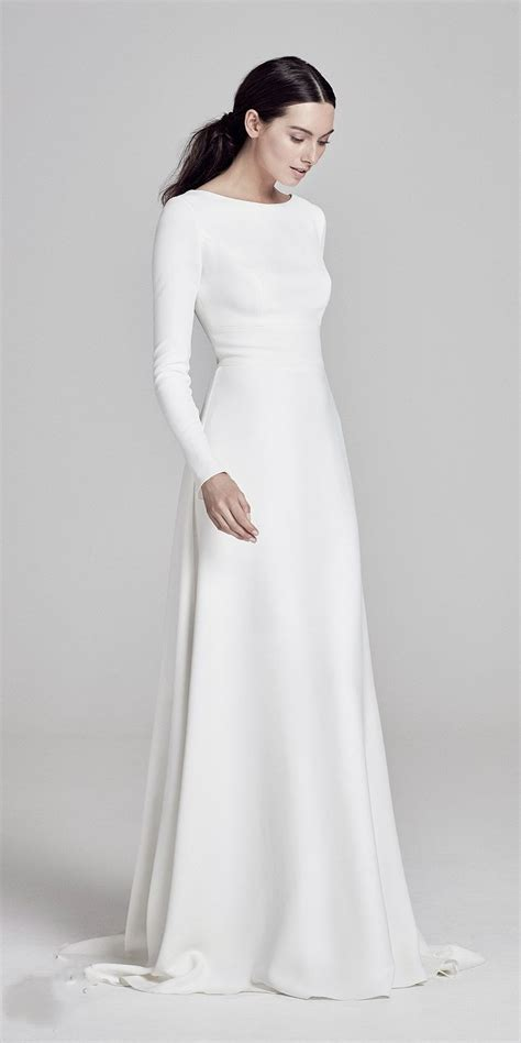simple elegant satin floor length wedding dress