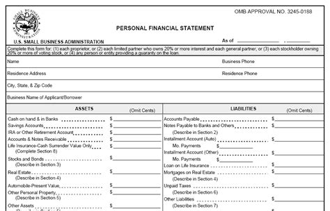 3 Personal Financial Statement Templates Excel Xlts Sba Personal Financial Statement Excel Template