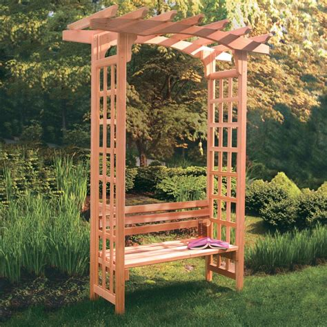 bench with trellis arboria astoria 7 ft cedar pergola arbor with bench