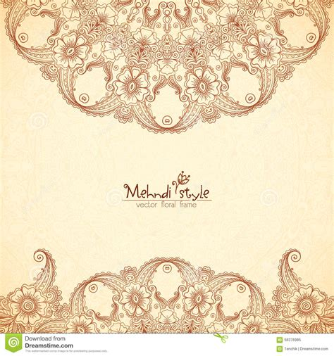indian henna tattoo vector vintage background in indian henna style stock