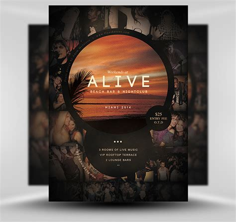 bar flyer templates free alive bar flyer template
