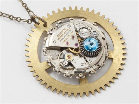 antique clockwork necklace brass clock gear pendant with